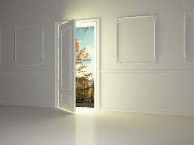 Empty classic room with opened door and beautiful view to the pa