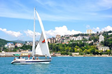 Sochi resort with sailing yacht