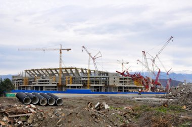 Construction of the main stadium in the Olympic Park