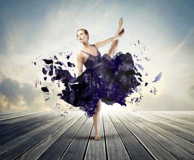 Beautiful elegant ballerina dancing on a parquet floor with her dress tearing away stock vector