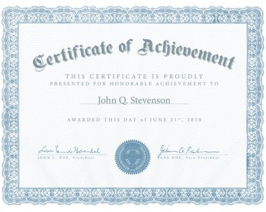 Vector Blue Certificate of Achievement
