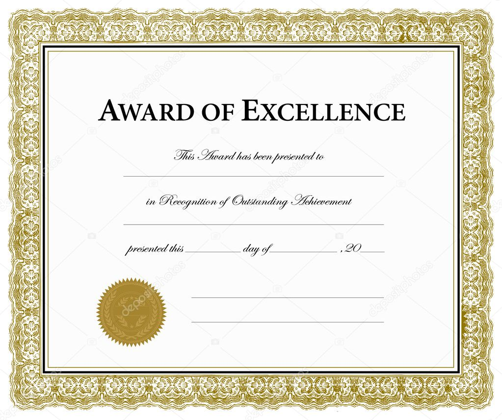 Vector Award of Excellence Certificate Stock Vector Image by Intended For Award Of Excellence Certificate Template