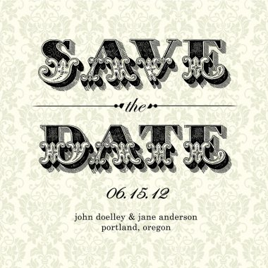 Vector Vintage Save the Date Card