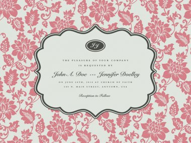 Vector Rose Background and Ornate Frame. Easy to edit. Perfect for invitations or announcements. stock vector