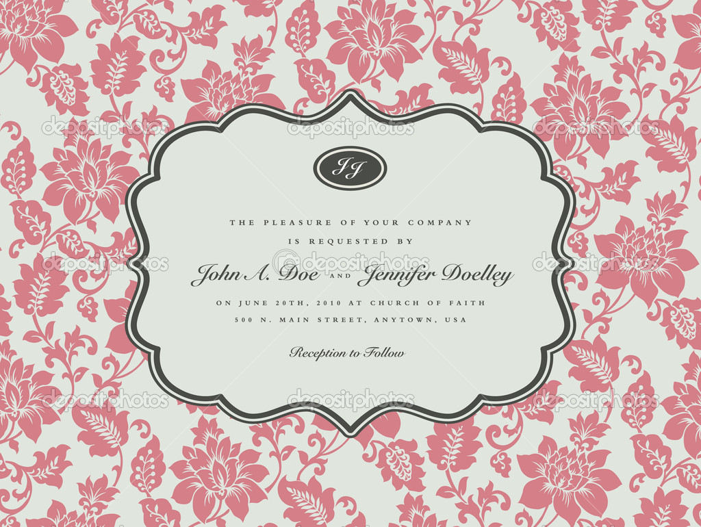 Vector Rose Background and Ornate Frame