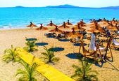 Gyönyörű napsütéses tengerparton szalma esernyők