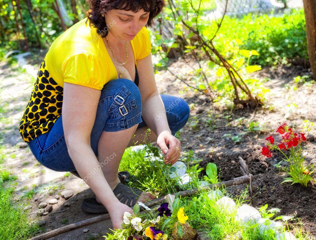Jardiner a mujer madura plantando flores fotos de - Imagenes de jardineria ...