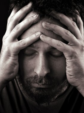 Sad depressed and lonely man
