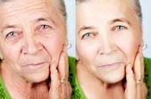 Krása a péče o pleť koncept - žádné vrásky stárnutí