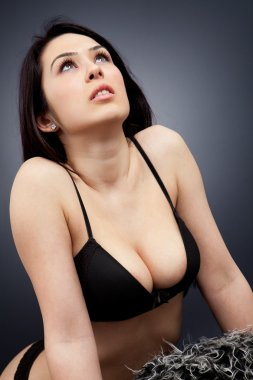 Woman in lingerie with sexy cleavage