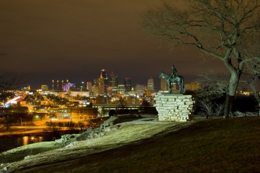 Kansas City Night Skyline from the Scout