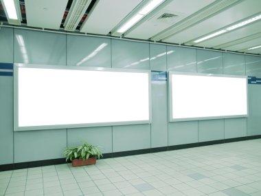 Blank billboard on wall