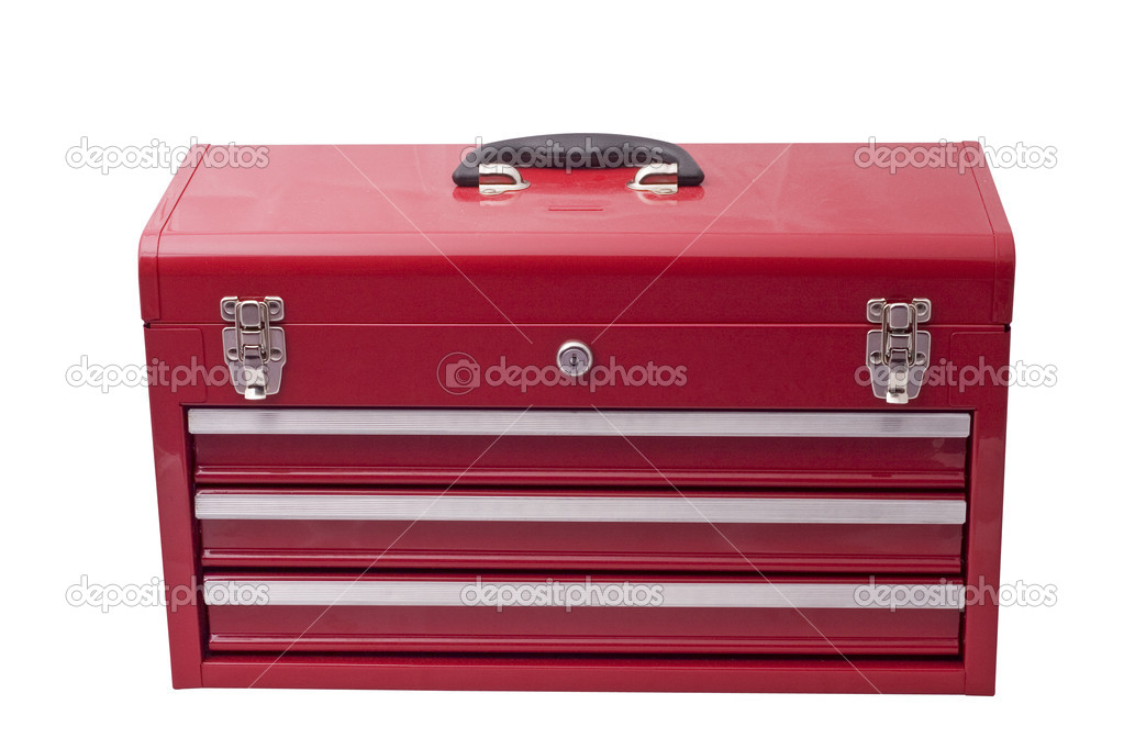 Red metal tool box with drawers