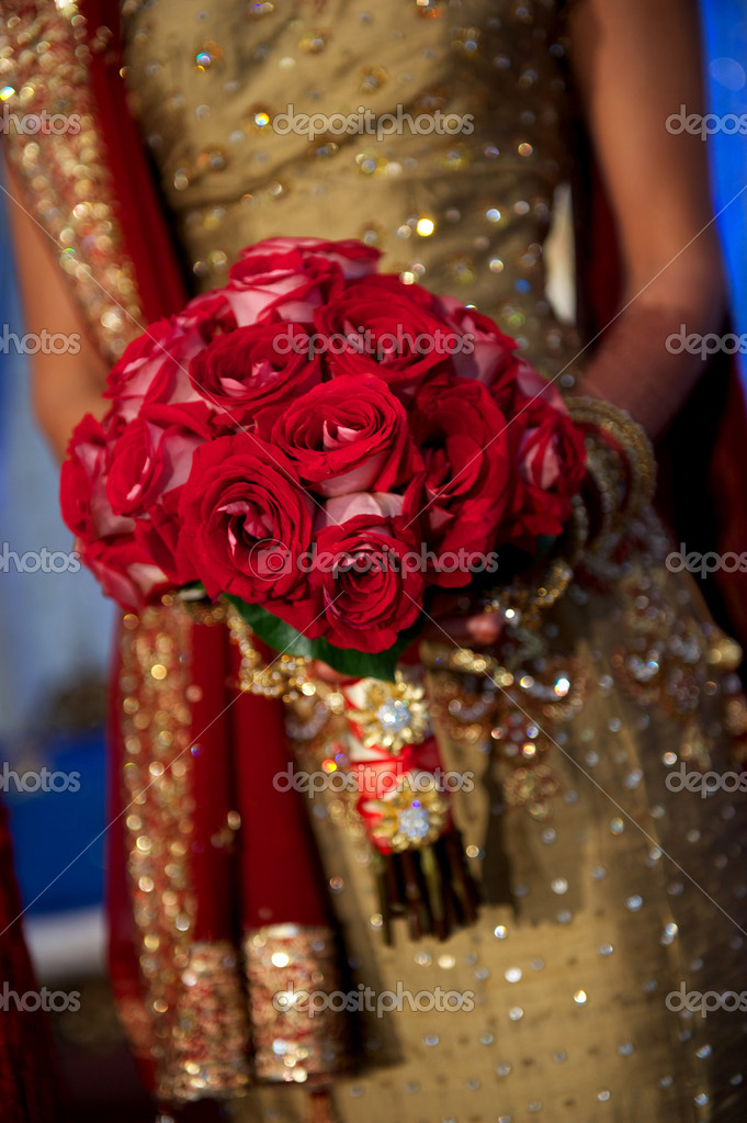 Image of a beautiful Indian bride's bouquet