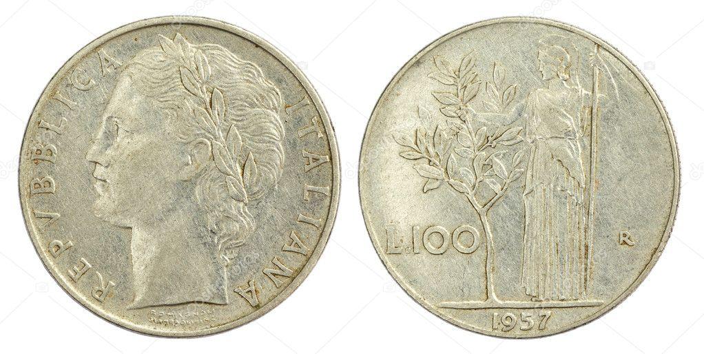 100 Lire Münze Von Italien Von 1957 Stockfoto Bdspn74 8147541