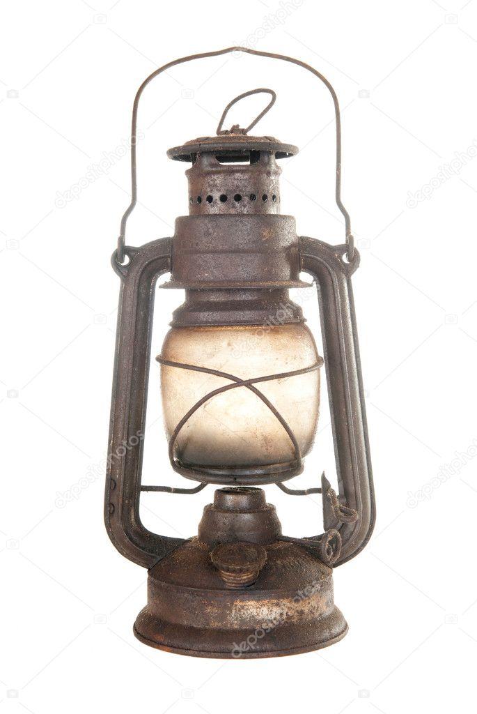 Old rusty kerosene lamp