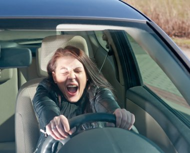 Woman screaming in the car