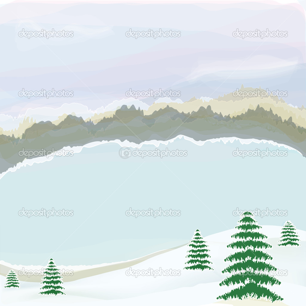 Winter landscape with lake,cloudy sky,snow, coniferous trees,horizon and fo