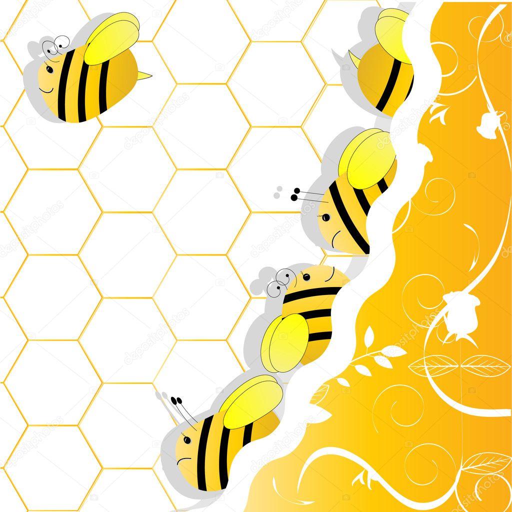 un enjambre de abejas en panales — Vector de stock © najtli #9587168