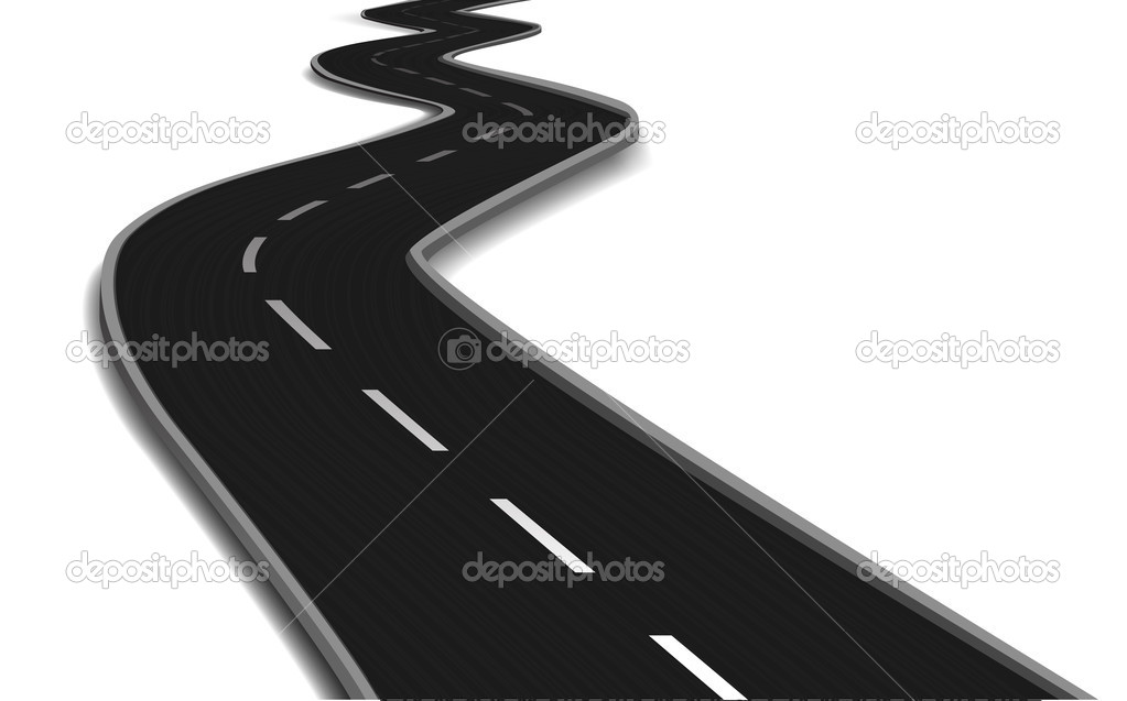 Curved road bridge. Vector