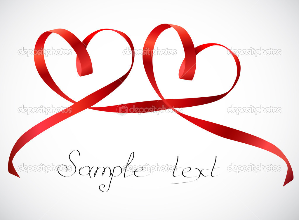 Red hearts ribbon bow. Vector