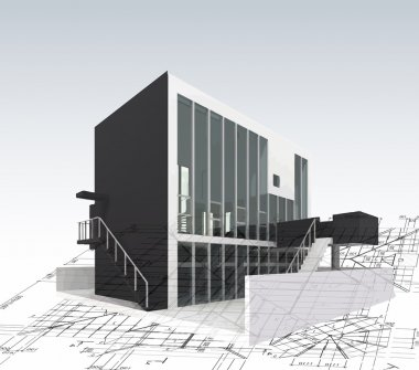 Architecture model house with plan and blueprints. Vector