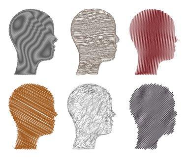 Set sketchy illustration heads. Vector