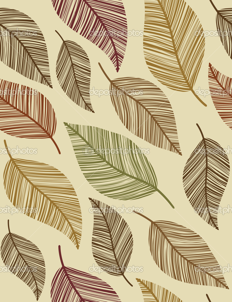 Decorative vintage leaves. Seamless pattern.