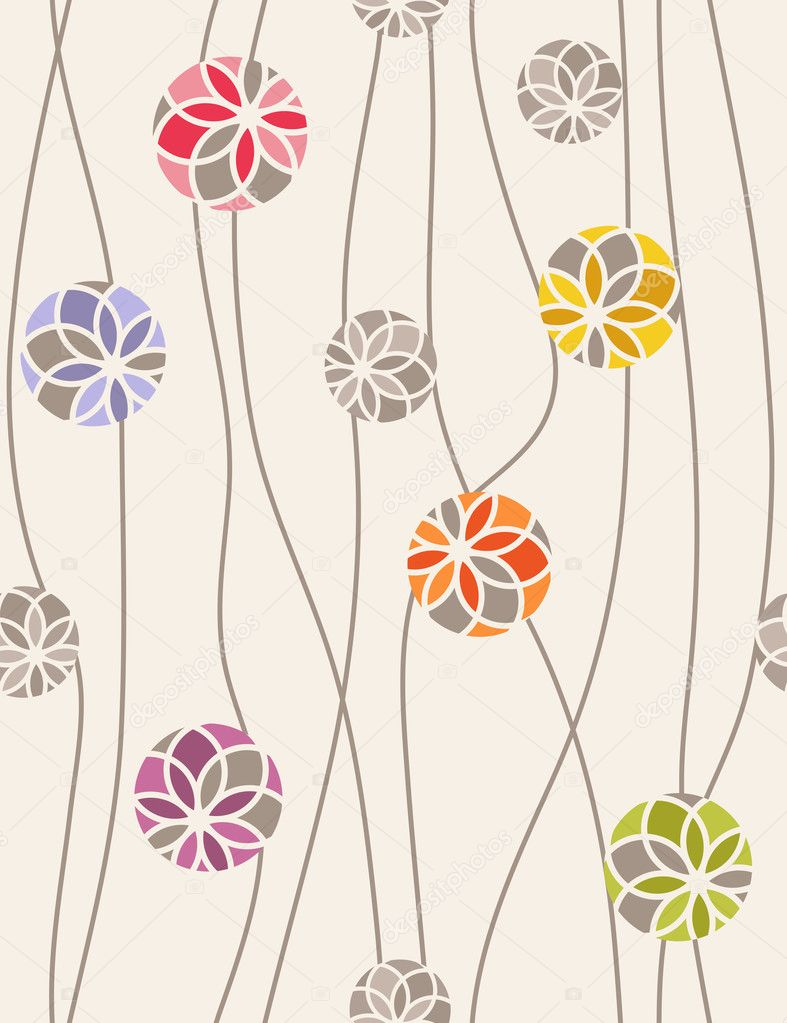 Colorful floral medallions. Seamless vector pattern