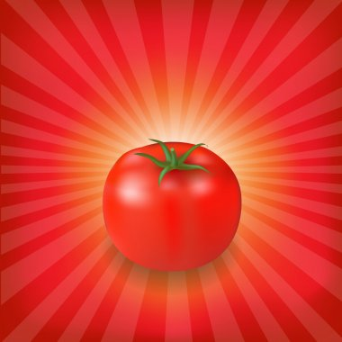 Sunburst Background With Red Tomato