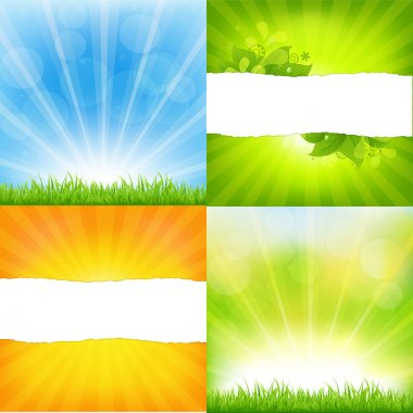 Green And Orange Backgrounds With Sunburst