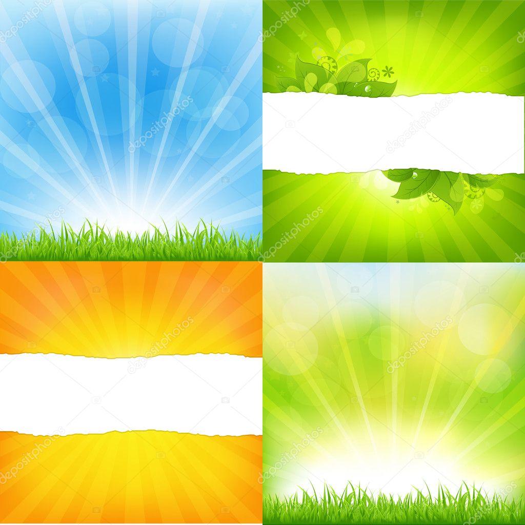 Green And Orange Backgrounds With Sunburst