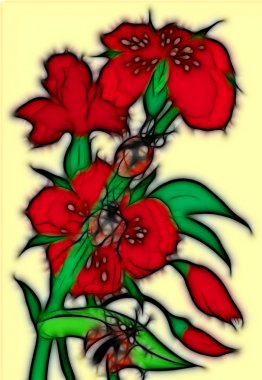 Red bunch of flowers with a ladybird