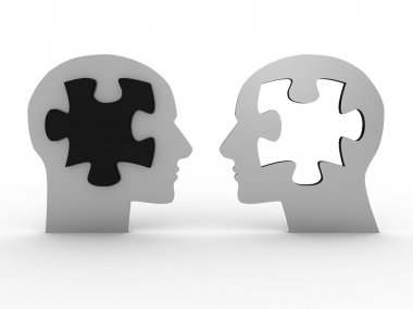 Two heads with a puzzle. 3D image