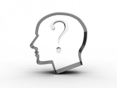 Head with a question inside. 3D image