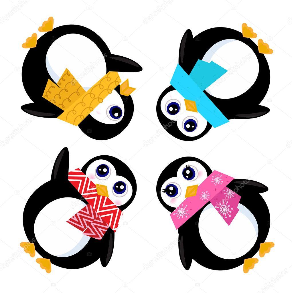 Cartoon penguins holding hands - photo#41