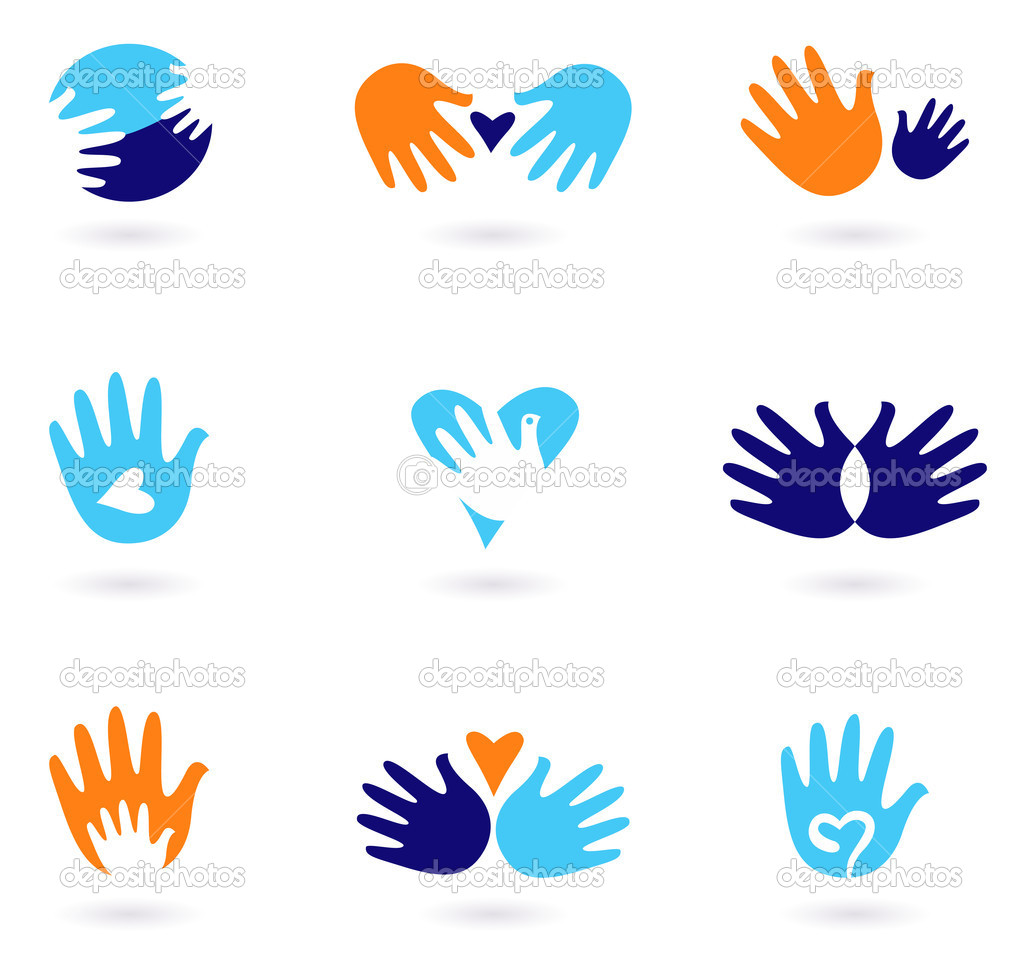 Hands and Love abstract icons collection