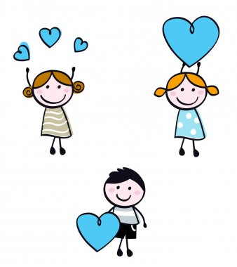 Cute doodle children with valentine's hearts. Vector cartoon Illustration stock vector