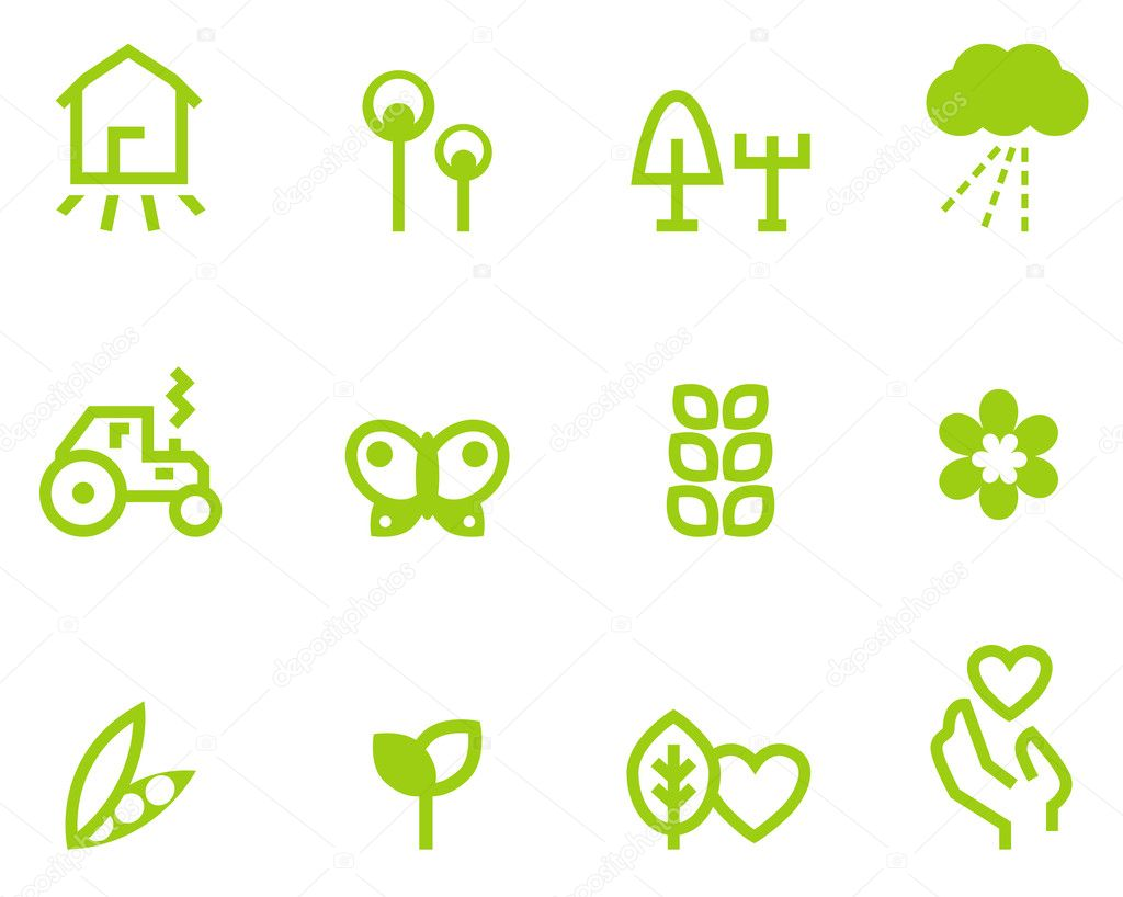 Agriculture & farming icons set isolated on white ( green )