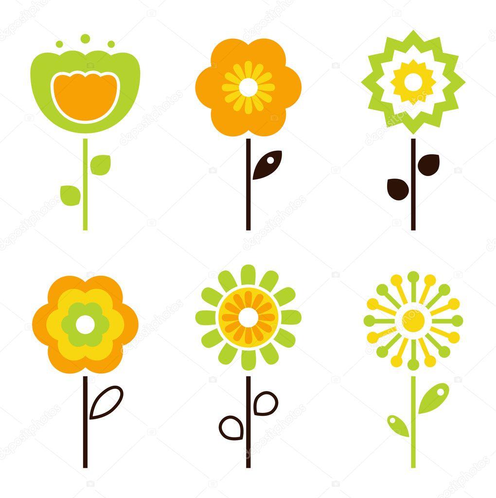 Set of retro flower elements for easter / spring