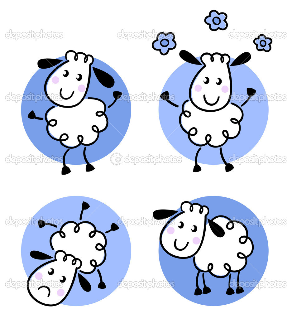 Cute doodle sheep collection isolated on white