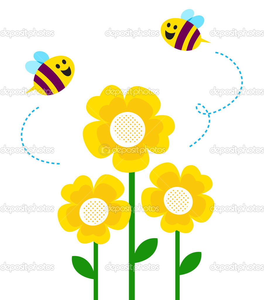 Cute little bees flying around flowers