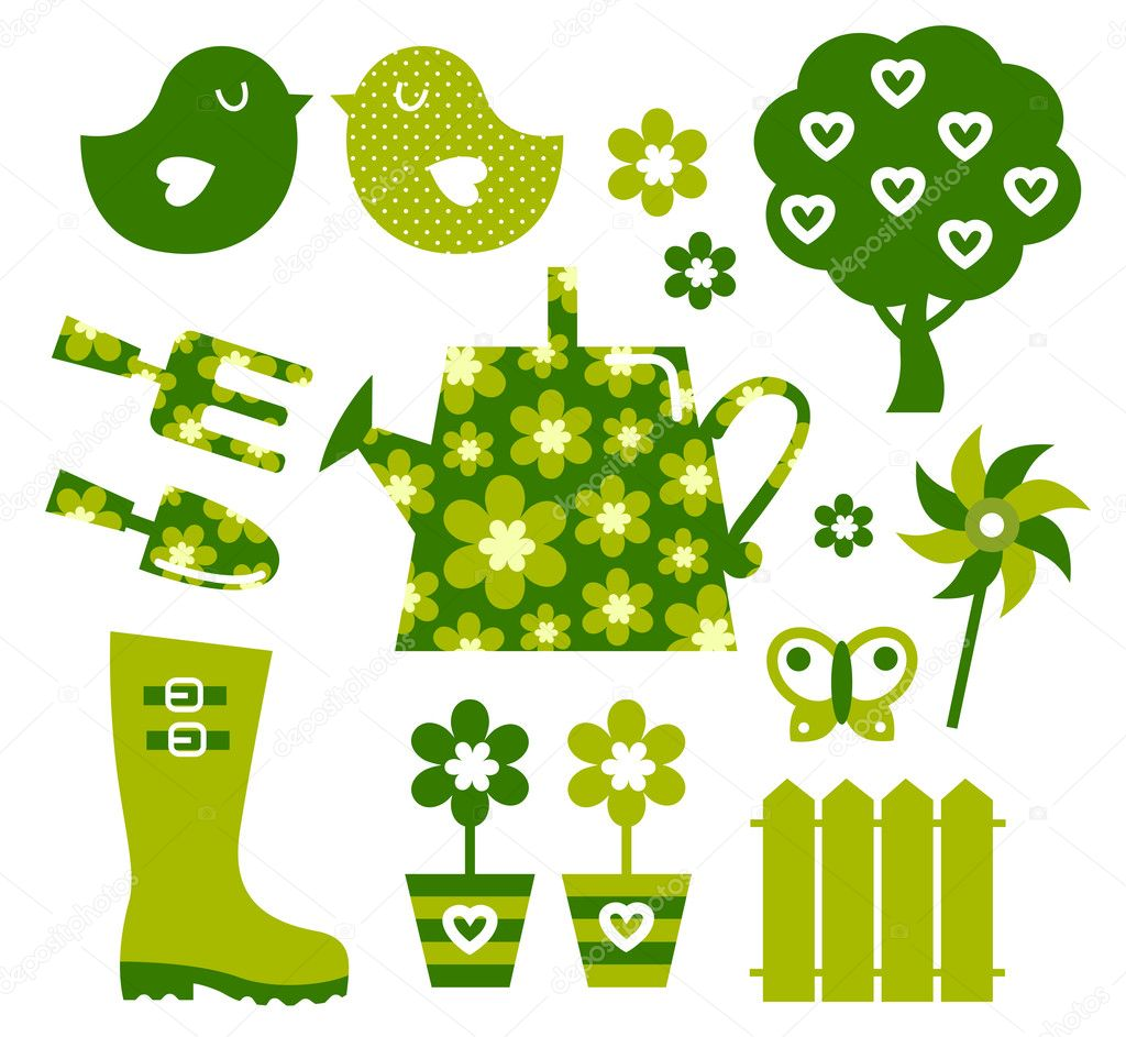 Garden objects and elements ( green )