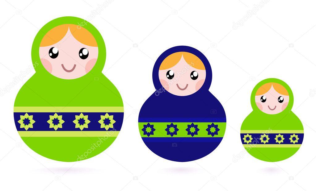 Matryoshka dolls family set isolated on white