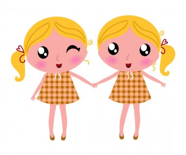 Cute little retro twins isolated on white