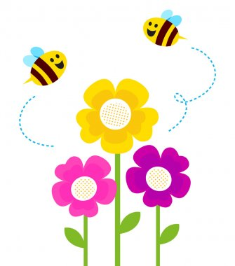 Cute bees flying around spring flowers isolated on white