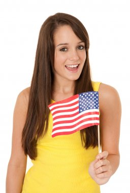 Woman waving American flag