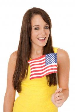 Woman waving American flag