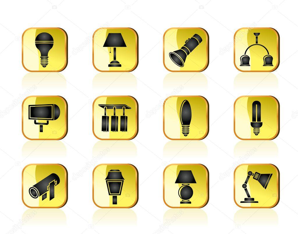 diff rents types de mat riel d 39 clairage image vectorielle stoyanh 10210658. Black Bedroom Furniture Sets. Home Design Ideas