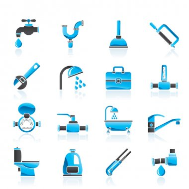 Plumbing objects and tools icons - vector icon set stock vector